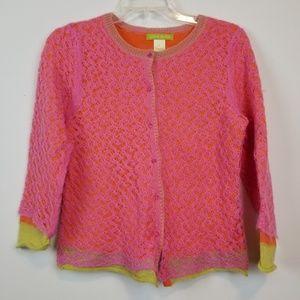 Sigrid Olsen Pink Layered Mohair cardigan size M